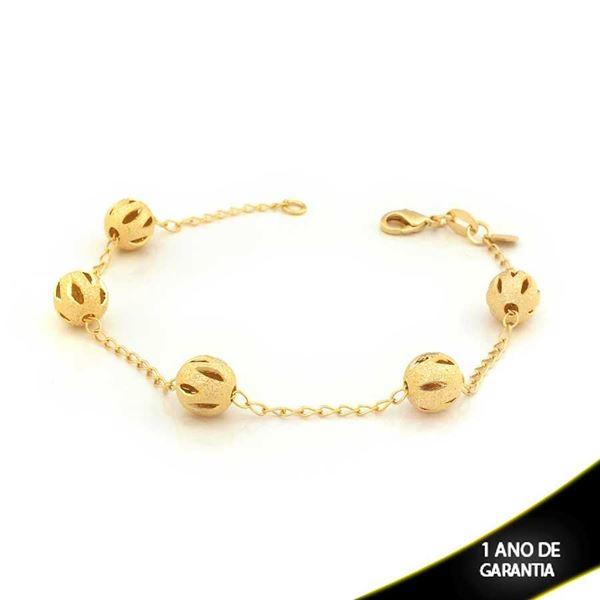 Imagem de Pulseira Feminina com Cinco Bolas Foscas e Diamantadas Vazadas 19cm - 0503331