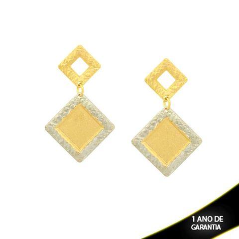 Imagem de Brinco Fosco e Diamantado com Aplique de Rodio - 0209820