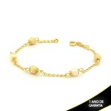 Imagem de Pulseira Feminina com Três Bolas Foscas e Diamantadas e Duas Pérolas 19cm - 0502560
