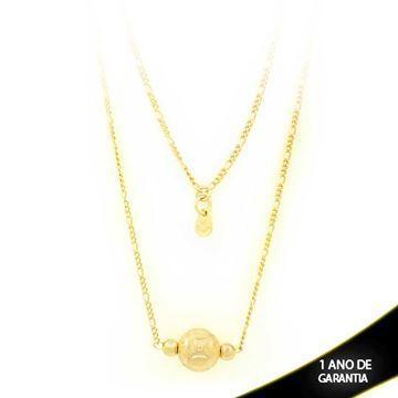 Imagem de Corrente Feminina Colar com Bola Fosca e Diamantada 68cm - 0402885