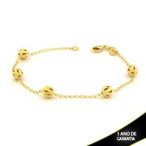 Imagem de Pulseira Feminina com Cinco Bolas Foscas e Diamantadas Vazadas 18,5cm - 0503332