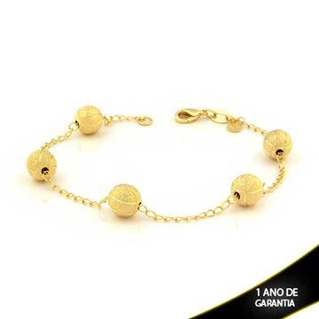 Imagem de Pulseira Feminina com Cinco Bolas Foscas e Diamantadas 20cm - 0503329