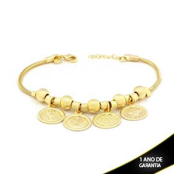 Imagem de Pulseira Feminina com Quatro Medalhas Penduradas 17cm Mais 2cm de Extensor - 0503320