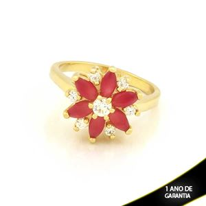 Imagem de Anel Flor com Zircônias Vermelha e Branca - 0104080