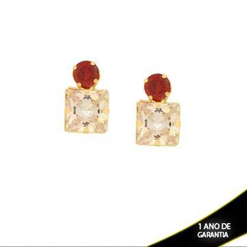 Imagem de Brinco com Duas Pedras de Zircônias Várias Cores - 0210628