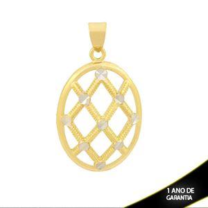 Imagem de Pingente Oval Trabalhado e Diamantado com Aplique de Ródio - 0304079