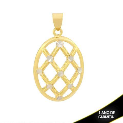 Imagem de Pingente Oval Trabalhado e Diamantado com Aplique de Rodio - 0304079