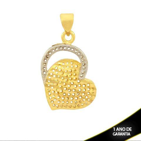 Imagem de Pingente Coração Vazado e Diamantado com Aplique de Rodio - 0304076