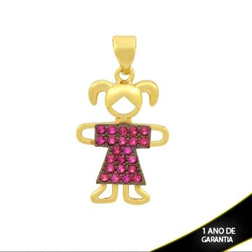 Imagem de Pingente Menina com Zircônias Preta ou Pink e Aplique de Rodio - 0304058
