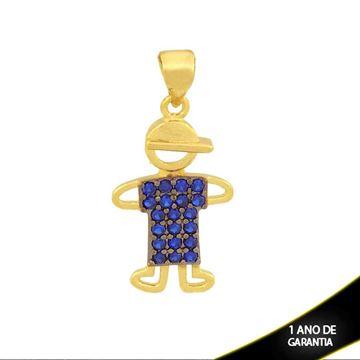 Imagem de Pingente Menino com Zircônias Preta ou Azul e Aplique de Rodio - 0304059