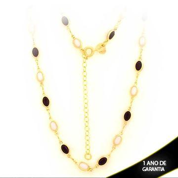 Imagem de Corrente Feminina com Pedras Pretas e Brancas 40cm Mais 5cm de Extensor - 0403014