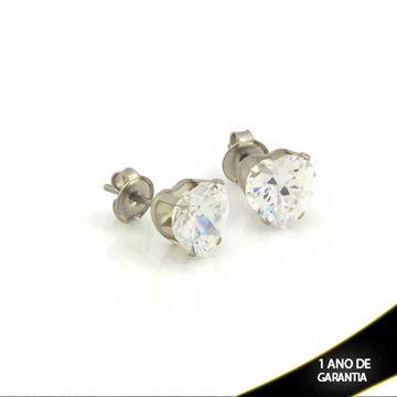Imagem de Brinco Aço Inox Coração com Pedra de Zircônia - 0210767