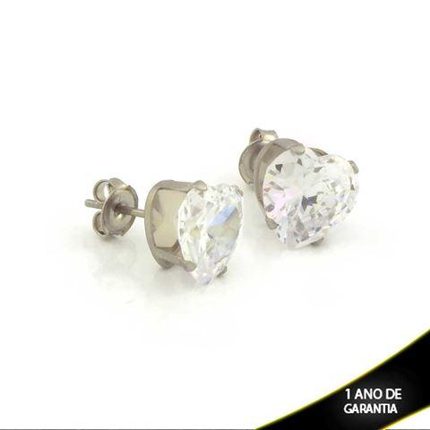 Imagem de Brinco Aço Inox Coração com Pedra de Zircônia - 0210768