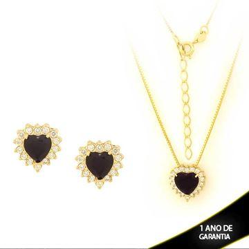 Imagem de Conjunto Coração com Pedras de Zircônias Várias Cores 40cm Mais 5cm de Extensor - 0700860