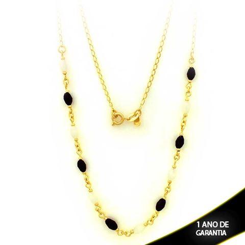 Imagem de Corrente Feminina com Pedras Pretas e Brancas 45cm - 0403064