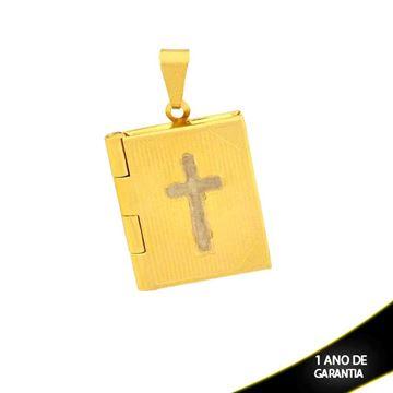 Imagem de Pingente Relicário Bíblia Trabalhada com Aplique de Rodio - 0304138