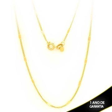 Imagem de Corrente Masculina com Plaquinha Diamantada 2mm 50cm - 0403077