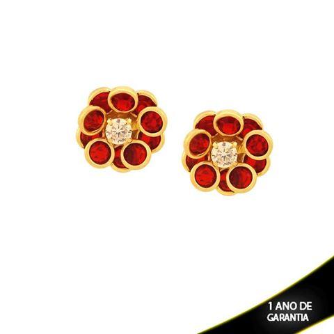 Imagem de Brinco Flor com Pedras Vermelha e Um Strass - 0210699
