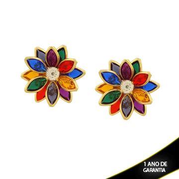 Imagem de Brinco Flor com Pedras Colorida e Um Strass - 0210694