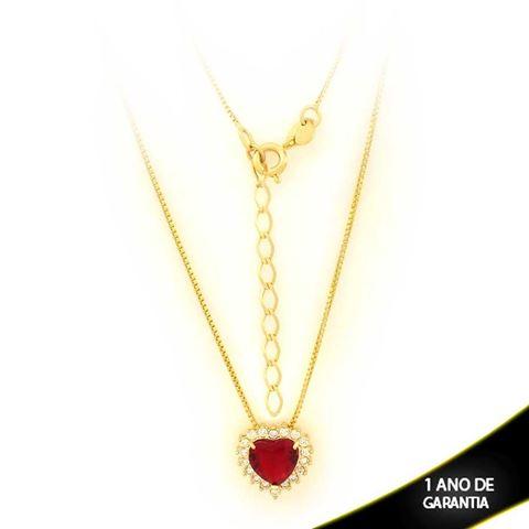 Imagem de Corrente Feminina Coração com Pedras de Zircônias Várias Cores 40cm Mais 5cm de Extensor - 0403083