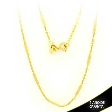 Imagem de Corrente Masculina Malha com Plaquinha Diamantada 2mm 50cm - 0403094