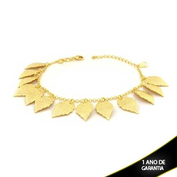 Imagem de Pulseira Feminina com Folhas Foscas Diamantadas 19cm Mais 4,5cm de Extensor - 0503154