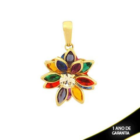Imagem de Pingente Flor com Pedras Colorida e Um Strass - 0304084