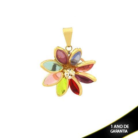 Imagem de Pingente Flor com Pedras Colorida e Um Strass - 0304090