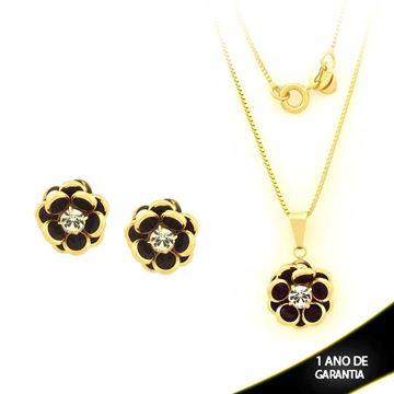 Imagem de Conjunto Flor com Pedras Preta e Um Strass 45cm - 0700870