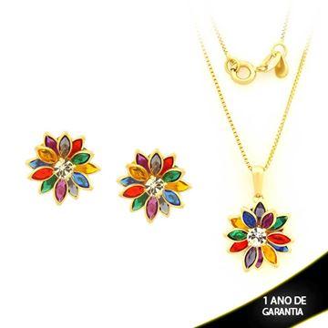 Imagem de Conjunto Flor com Pedras Colorida e Um Strass 45cm - 0700872
