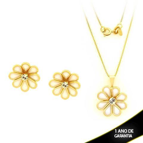Imagem de Conjunto Flor com Pedras Branca e Um Strass 45cm - 0700871