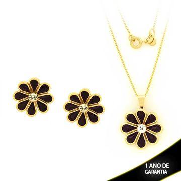 Imagem de Conjunto Flor com Pedras Preta e Um Strass 45cm - 0700873