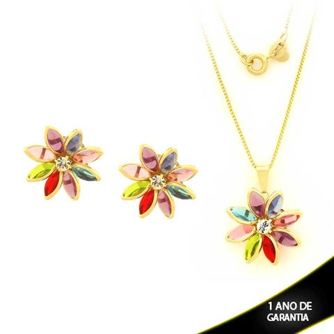 Imagem de Conjunto Flor com Pedras Colorida e Um Strass 45cm - 0700874