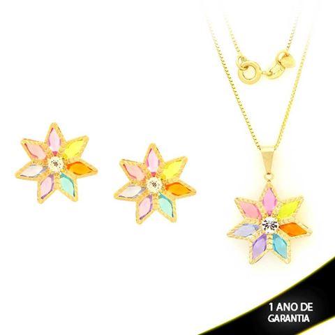 Imagem de Conjunto Flor Trabalhada com Pedras Colorida e Um Strass 45cm - 0700875