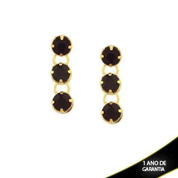 Imagem de Brinco com Três Pedras de Strass Várias Cores - 0210506