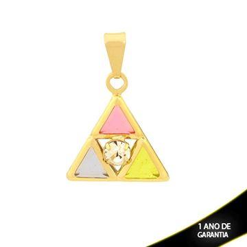 Imagem de Pingente Triângulo com Pedras Colorida e Um Strass - 0304140