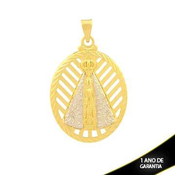 Imagem de Pingente Oval Nossa Senhora Aparecida com Aplique de Rodio e Diamantado em Volta - 0304117