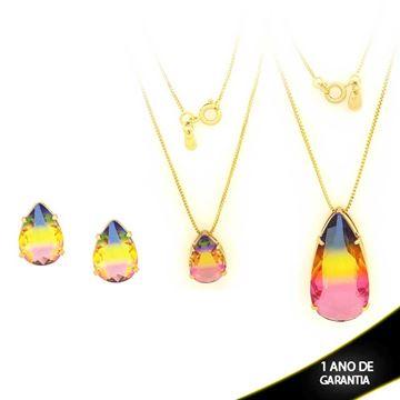 Imagem de Conjunto Gota com Pedra Rainbow Várias Cores - 0700880