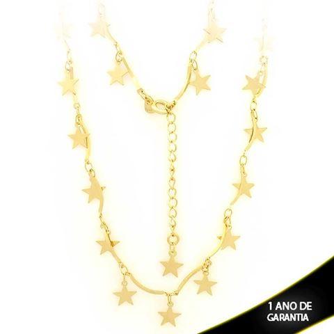 Imagem de Corrente Feminina com Estrelas 40cm Mais 5cm de Extensor - 0402955