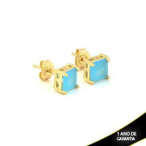 Imagem de Brinco com Pedra Natural Quadrada Azul Claro - 0210775