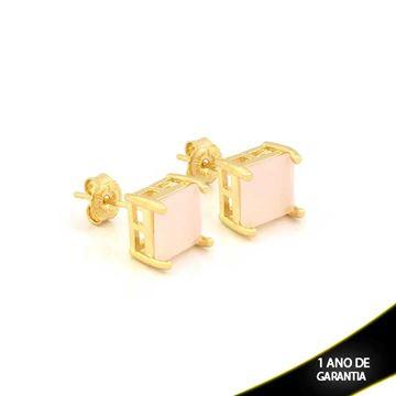 Imagem de Brinco com Pedra Natural Quadrada Preta ou Rosa - 0210789