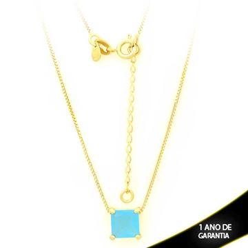 Imagem de Corrente Feminina com Pedra Natural Quadrada Azul Claro 40cm Mais 5cm de Extensor - 0403127