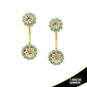 Imagem de Brinco Romeu e Julieta Flores com Strass Azul Tiffany e Branco - 0210745