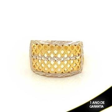 Imagem de Anel Fosco e Diamantado com Aplique de Ródio - 0104588