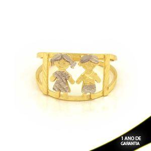 Imagem de Anel Casal Diamantados com Aplique de Ródio - 0104595