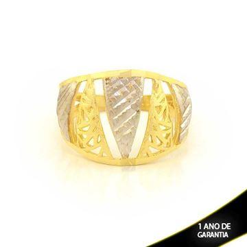Imagem de Anel Fosco e Diamantado com Aplique de Ródio - 0104597