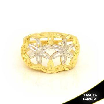 Imagem de Anel Diamantado com Flores e Aplique de Ródio - 0104604