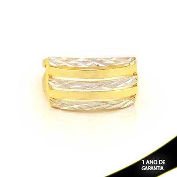 Imagem de Anel Fosco e Diamantado com Aplique de Ródio - 0104590