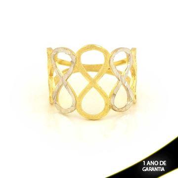 Imagem de Anel Lixado e Diamantado com Aplique de Rodio - 0104607