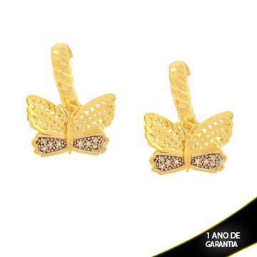 Imagem de Brinco Argola Borboleta Diamantada com Zircônias e Aplique de Rodio - 0210861